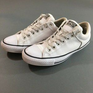 Converse White Leather Low Top Shoes, Mens 8.5